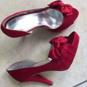 👠 Maribelle Cherry Red Satin D'Orsay Bow Heels 🍒